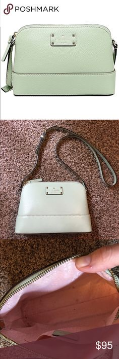 Kate Spade Wellesley Mint Crossbody Stunning mint green color! Lining is a little dirty but I will clean it before it gets sent out! Couple minor spots on bottom of bag but no damage to material. Great piece for summer! kate spade Bags Crossbody Bags