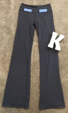 These are a very nice pair of Lululemon gray Boot Cut yoga pants women's size 6. The pants have a cute waistband. All measurements are approximate and taken with the pants laying flat. Waist is 14 inches across, rise is 9 inches, inseam is 35.5 inches, length is 43 inches, and leg opening is 10 inches. These are very nice pants! If you have any questions please message me. | eBay!