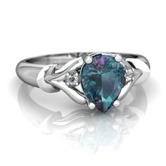 Lab Alexandrite Gothic Pear 14K White Gold ring R0826 - front view