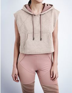 ADIDAS BY STELLA MCCARTNEY Yoga Cropped cotton-jersey hoody or lounge top perfect for yoga or relaxing at home. Love the baby pink and beige.