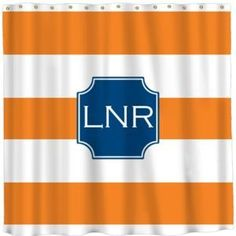Personalized Shower Curtain with Orange Stripe Pattern. from www.wellappointedhouse.com