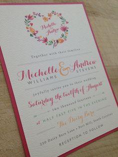 Wedding Invitation Suite // Floral and Vintage // Spring Summer // Elegant // Flowers // Pink Orange // Custom // Etsy