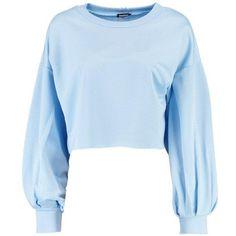 Boohoo Paige Balloon Sleeve Slash Hem Sweatshirt (305 EGP) ❤ liked on Polyvore featuring tops, hoodies, sweatshirts, blue off the shoulder top, blue kimono, blue sweatshirt, flat top and blue jersey