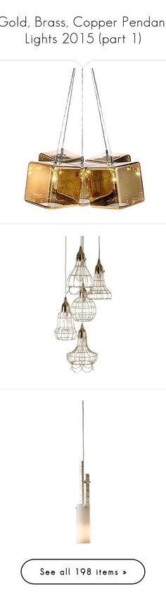 """Gold, Brass, Copper Pendant Lights 2015 (part 1)"" by paxpasha ❤ liked on Polyvore featuring home, lighting, ceiling lights, gold, edison style lighting, multi bulb lamp, ice cube lights, wire pendant light, gold pendant lamp and gold lights"