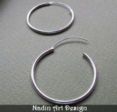 Große Silberne Creolen - Sterlingsilber Schmuck von NadinArtDesign auf DaWanda.com