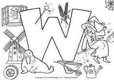 Letter W Colouring Pages