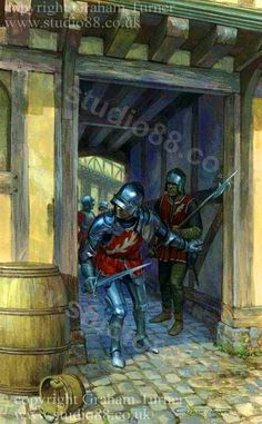 Soldiers in the Earl of Warwick's service advance through the back streets and alleys of St. Albans, to launch a surprise attack on Henry VI's forces