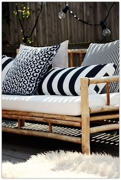 Handmade Home: Creating My Dream Patio Outside Furniture, Bamboo Furniture, Bamboo Sofa, Cane Outdoor Furniture, Garden Furniture, Bar Furniture, Simple Furniture, Furniture Layout, Outdoor Cushions