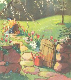Martta Wendelin (Finnish, 1893-1986). Vintage Christmas Cards, Christmas Art, Fields In Arts, Belle And Boo, Vintage Gardening, Fence Art, Old Paintings, Garden Art, Garden Gates