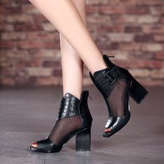 Malla Peep Toe Sandalias De Mujer Zapatos Botas al Tobillo Tacón Alto Bloque Romano Elegante