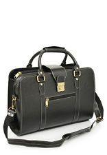 Comfort 14 inch Pure Black Leather Laptop Bag for men and women & unisex EL04