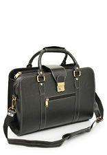 Comfort 14 inch Pure Black Leather Laptop Bag for men and women & unisex EL04