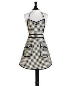 A Jessie Steele classic, the White and Black Deco Dot Audrey Apron is both flattering and elegant, complete with a black bias trim. It features a sweetheart neckline, two side pockets with flaps, and