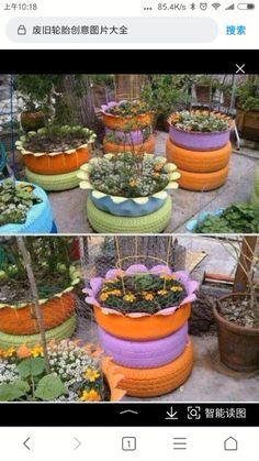 Tire Garden, Garden Planters, Old Tire Planters, Garden Bed, Backyard Vegetable Gardens, Vegetable Garden Design, Diy Trellis, Recycled Garden, Recycled Tires