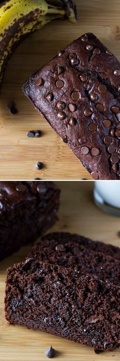 Super soft Double Chocolate Banana Bread. So moist, full of banana flavor and loaded with chocolate. So delicious and it only takes 10 minutes to make!