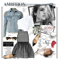 """""""Spring Denim Jacket"""" by stylemeup-649 ❤ liked on Polyvore featuring UNIF, Mohzy, Maticevski, Rosie Assoulin, Christian Louboutin, denim, Pumps and wardrobebasics"""