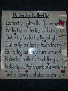Ideas For Craft Preschool Butterfly Kindergarten Songs, Preschool Songs, Preschool Themes, Preschool Activities, Butterfly Poems, Butterfly Kids, Pre School Graduation Ideas, Bug Songs, Finger Plays