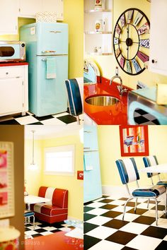"""The basement is the place to """"go wild!""""  Retro 50's diner kitchenette, complete with turquoise appliances, black and white checkered floor, eating booth and red countertops!"""
