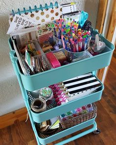 From Day Storage. Its functional and I can drag it around the house wherever I wish to sit and plan. I dont believe in too much stuff so the storage space in this cart is perfect. - Storage Cart - Ideas of Storage Cart Study Room Decor, Cute Room Decor, Home Office Organization, Craft Organization, Organizing, Stationary Organization, Art Cart, Craft Room Storage, Craft Rooms