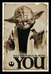 Star Wars - Yoda, May The Force Be Poster With Black Frame Black Framed Wall Art, Printable Star, Metal Hangers, Star Wars Poster, Film Serie, For Stars, Moose Art, Prints, Animals