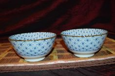 "Two Asian Porcelain Blue and White Design w/ Brown Rim Bowls 5 1/4""x2 5/8"" #Asian #Unknown"