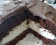 1 chocolate cake mix prepared according to box directions and pour into prepared two 9 inch cake pans and bake for time specified on box.  1 can milk chocolate frostingFilling::  1 8 oz cream cheese softened  1 stick