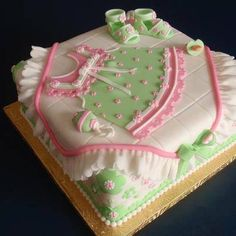 60 ideas for baby shower cake pink green Baby Cakes, Cupcake Cakes, Pretty Cakes, Cute Cakes, Beautiful Cakes, Torta Baby Shower, Cake Pops, Shower Bebe, Girl Shower