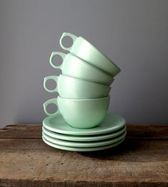 Set of 4 Melmac/Melamine Teacups & Saucers - Mint Green Kitchenware, Tableware, Tea Cup Saucer, Kitchen Stuff, Teacups, Green Colors, Mint Green, Kitchens, Bar