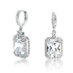 Bling Jewerly Pave Emerald Cut CZ Dangle Earrings: Jewelry: Amazon.com