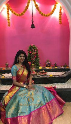 Indian Bridal Fashion, Indian Wedding Outfits, Indian Wedding Bride, Half Saree Lehenga, Saree Gown, Lehenga Blouse, Half Saree Designs, Saree Blouse Designs, Half Saree Function