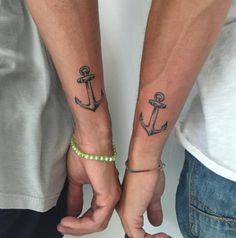 "And this pair of anchors. | 16 Matching Friend Tattoos That Say ""I Love You Man."""