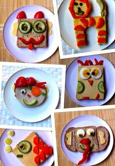 6 x decorated healthy sandwich, healthy bread, healthy kids recipe, healthy snack … – rainbow – – DEMO Healthy Homemade Snacks, Healthy Lunches For Kids, Kids Meals, Healthy Food, Kid Sandwiches, Healthy Sandwiches, Baby Food Recipes, Snack Recipes, Food Art For Kids