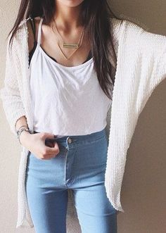 loose cami, high waisted light wash jeans, black relate, cream sweater