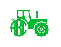 Monogram Tractor Decal  FREE Custom Color  by CountryCottageGC