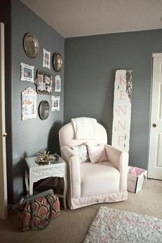 Shabby chic nursery. Love the big wooden name sign! Rusty Nail?