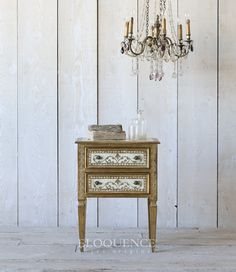 ELOQUENCE Vintage Italianate Nightstand Circa: 1950