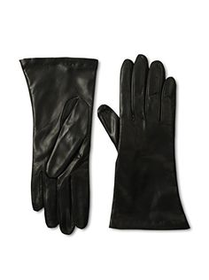Portolano Women's Cashmere Lined Leather Gloves (Black)