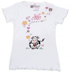 T-Shirt Milch-Blumen, weiss / T-shirt Milk flowers, white / A plain and simple t-shirt with a beautiful pattern.The T-shirt has a high quality. The pattern consists of flowers, hearts and a cow.
