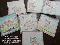 Fun with This Little Piggy stamp set this week at #coffeeandcard with Jemini Crafts. Uses Stampin' Up! new stamp set with pigs, piglets and fun sentiments. For more information contact Jenny www.jeminicrafts.co.uk jenny@jeminicrafts.co.uk
