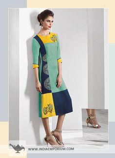 Glistening Light Green & Yellow Embroidered Modal Fabric Kurti