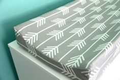 light gray arrows contoured changing pad cover by iviebaby on Etsy, $35.00