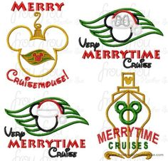 Christmas Dis Cruise Line FOUR DESIGN SET Machine Applique Embroidery Design, Multiple Sizes, including  4 inch, $12.00