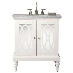 replace bathroom vanity    Home Decorators Collection Reflections 31 in. W x 21.5 in. D Barry Vanity in Pure White with Gray Granite Top  Model # 0567800410 Internet # 203103979  $449.00