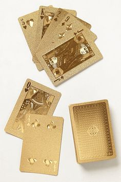 Gold-Dipped Playing Cards.