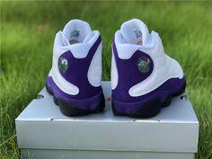 Air Jordan 13 Los Angeles Lakers Gold Color Combination, Air Max Sneakers, Sneakers Nike, Purple Suede, Jordan 13, Air Jordan Shoes, Los Angeles Lakers, White Leather, Nike Air Max
