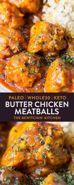Low Carb Meals Butter Chicken Meatballs - this paleo butter chicken recipe is an easy, dairy free alternative to a comforting dinner using coconut milk and ghee instead of butter and cream. It's quick, low carb, and falls under the keto diet. Paleo Butter Chicken Recipe, Butter Chicken Rezept, Paleo Chicken Recipes, Whole 30 Chicken Recipes, Paleo Meals, Coconut Cream Chicken, Recipes With Ground Chicken, Different Chicken Recipes, Lemon Butter Chicken