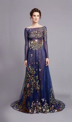 Stunning night sky blue dress with fairytale tree and bird embroidery Designed by Hamda al Fahim http://www.hamdaalfahim.com/