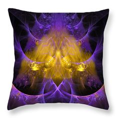 Throw Pillow Alien Structure: Modern abstract math art based on a fractal, beautiful golden and purple colors, square format. All throw pillows are available in multiple sizes. (c) Matthias Hauser hauserfoto.com