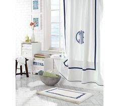 "Morgan Shower Curtain $69 (Want 2 in Gray with ""O"" in Dark gray"