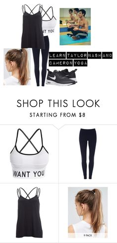"""""""yoga with taylor caniff, nash grier and cameron dallas"""" by cecilie2010-sp ❤ liked on Polyvore featuring ATM by Anthony Thomas Melillo, Beyond Yoga and NIKE"""
